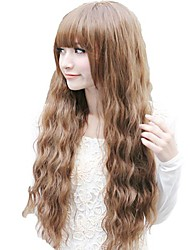 Corn Roll Capless Light/Dark Brown Full Bang Synthetic Long Wavy Wigs
