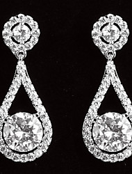 Elegant Platinum Plated With Zircon Drop Shaped Women's Drop Earrings