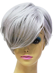Capless High Quality Synthetic Janpanese Kanekalon Short Straight Grey Hair Wig