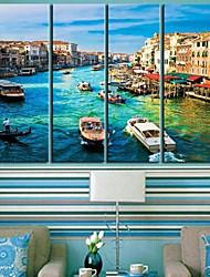 Reproducción en lienzo de arte del paisaje de Agua de la Ciudad de Venecia Conjunto de 4