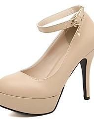 Tacón de aguja Bombas de cuero sintético superior de las mujeres de la Ronda del dedo del pie con zapatos de hebilla Party (más colores)