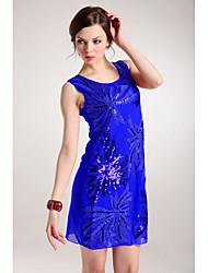 Sexy Lentejuela Modelo de flor'S Zilandowomen sin Mangas Vestido Corto (Royal Blue)