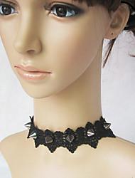 Серебро заклепки панк Лолита ожерелье с черными кружевами