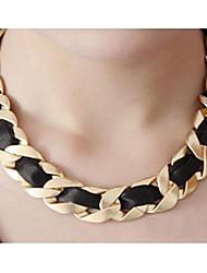 collar de cadena tejido negro