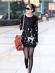 Sanhao Manteau grande taille Fat MM T-shirt lâche printemps coréen (Noir)