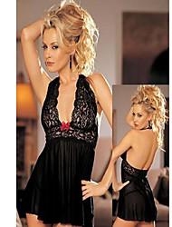 Está quente Menina Deep-V Mulheres Lace Preto Lingerie sexy uniforme