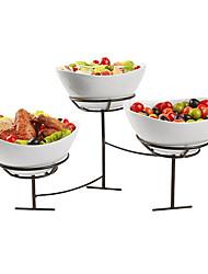 Salad Bowls Holder, 3pcs cerâmica Bowls e suporte 1pc