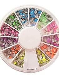 Decoraciones de uñas de 12 Entramado fluorescente Modelos Mixtos Rivet