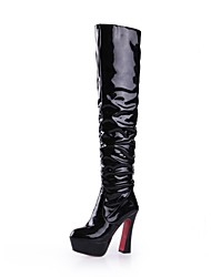 Faux Patent  Leather Women's High-heel  Fashion Sexy  Above-the-knee  Boots  (More Colors)