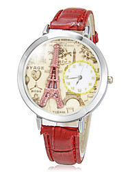 Women's 3D Effiel Tower Round Dial Pu Band Quartz Analog Wrist Watch (Assorted Colors) Cool Watches Unique Watches