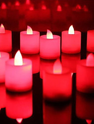 Wedding Décor Red LED Candles - Set of 6