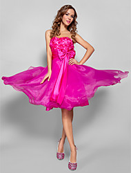 Cocktail Party/Prom/Sweet 16 Dress - Fuchsia Plus Sizes A-line/Princess Strapless/Sweetheart Knee-length Organza/Stretch Satin