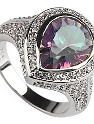 Fashion 925 Silver Plated Copper Rainbow Zircon Ring