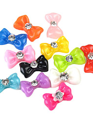 60PCS 12-Color Resin 3D Bow Tie Nail Art Decorations