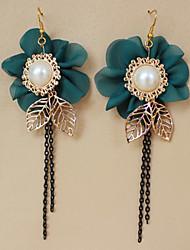 Hecho a mano del estilo de Hawaii Golden Leaf & Blue Pendientes Flor Lolita Clásico