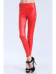 Calças Legging Sexy Olhar Molhado Vermelho