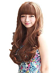 Capless Long Wavy Light Brown Synthetic Neat Bang Wigs