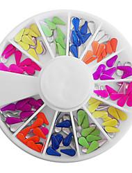 Caramelo Mixta de uñas con forma de gota de color fluorescente decoraciones del arte