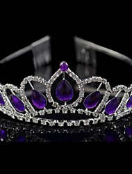 Women's Rhinestone / Crystal Headpiece-Wedding / Special Occasion Tiaras Silver / Purple