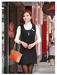 Women's Solid Black/Gray Dress , Cute Round Neck Sleeveless Bow