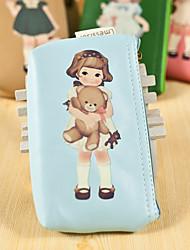 Cartoon Doll Pattern PU Leather Change Purse(Blue,1 PCS)