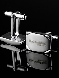 Personalized Gift Rectangle Silver Engraved Cufflinks