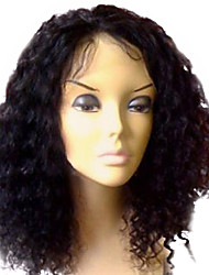 "16"" 100% Human Hair Brazilian Kinky Curly Indian Remi Lace Front Wig"
