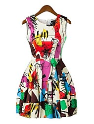 Women's Dress,Rainbow Midi Sleeveless Spring / Summer