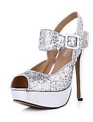 Sparkling Glitter Women's Stiletto Heel Platform Sandals Shoes  with Buckle