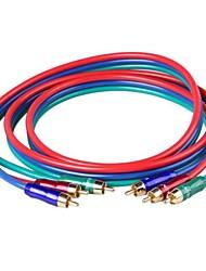 CM001 Высокое качество OD 6,0 OFC AV-кабель 3 RCA между мужчинами кабель подключения (150см)