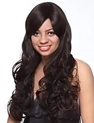 Capless extra long de haute qualité look naturel synthétique noir perruque de cheveux bouclés