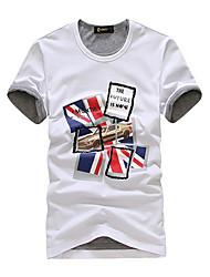 Union Jack de collier T-shirt d'impression ronde des hommes