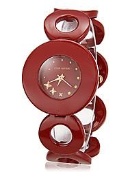 Ronda de patrón de timbre de marcación de la Mujer de aleación de banda reloj pulsera de cuarzo analógico