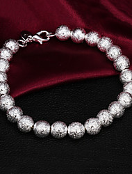 High Quality Classic Silver Silver-Plated Frosting Beads Strand Bracelets