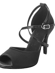 Chaussures de danse(Noir) -Non Personnalisables-Talon Bottier-Satin Similicuir-Latine Salon