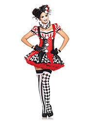Harlequin Clown Red & Black Polyester Women's Halloween Costume (One Size)for Carnival