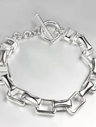 Fashion Lettering In The Lock 21cm Men's Silver Silver Plated Charm Bracelet(1 Pc)
