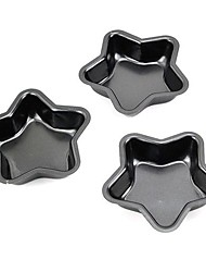 Star Shape Muffin Cupcake Pans and Tart Pans, 3 Pieces per Set, Non-sticked Coated