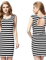 Round Neck Open Back Schwarzweiß Pinstriped Casual Dress