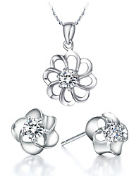 Flower Silver Silver Plated (Necklaces&Earrings) Wedding Jewelry Sets