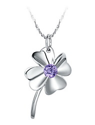 Elegant Flower-Shape Women's Slivery Alloy Necklace(1 Pc)(Purple,White)
