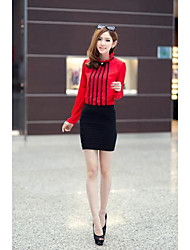 Women's Formal Simple / Street chic All Seasons / Spring / Summer / Fall / Winter Blouse,Patchwork Round Neck Long SleeveBlue / Red /