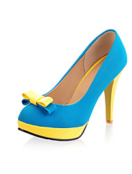 Women's Heels Spring Summer Fall Winter Comfort Leatherette Wedding Outdoor Dress Cone Heel Bowknot Split Joint Blue Yellow Red Orange