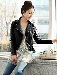 Frauen-Tipp Kragen PU-Jacke