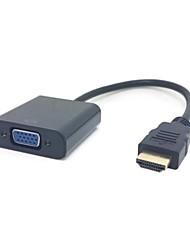 Preto Fonte HDMI para saída VGA e 3,5 mm estéreo conversor adaptador de cabo de áudio para HDTV PC 1080P