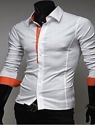 Männer Kontrast Farbe Verschönerung dünnes Hemd