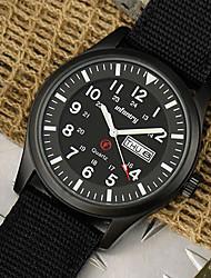 New Infantry Date Day Quartz Sport Mens Luminous Watch Black Fabric Strap Watch (Black Case)