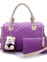 Erlen Women's Korean Style Cute Bear Tote/One Shoulder/Crossbody Bag(Purple)