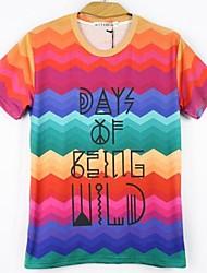Tee-Shirt Pour des hommes A Motifs Décontracté Manches Courtes Mélange de Coton Multicolore