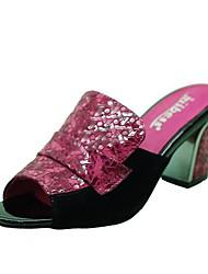 Patent Leder Damen Blockabsatz Slide Clogs & Pantoletten Schuhe mit Split-Joint
